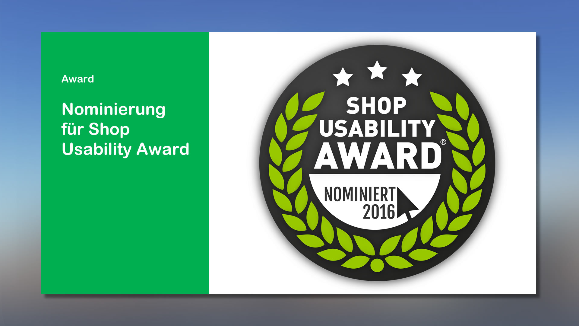 News webfellows Shop Usability Award