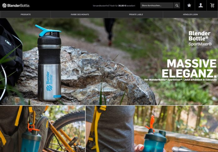 webfellows Referenz BlenderBottle Startseite