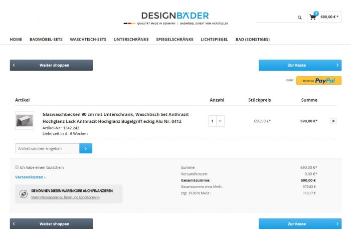 webfellows Referenz Designbäder Warenkorb