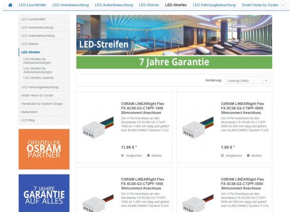 webfellows Referenz LED Lampenladen Kategorieseite