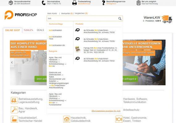 Referenz profishop.de Suche