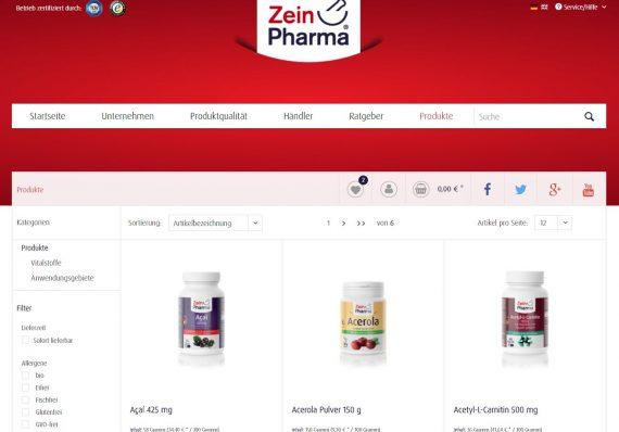 Shopware Referenz Zeinpharma Kategorieseite