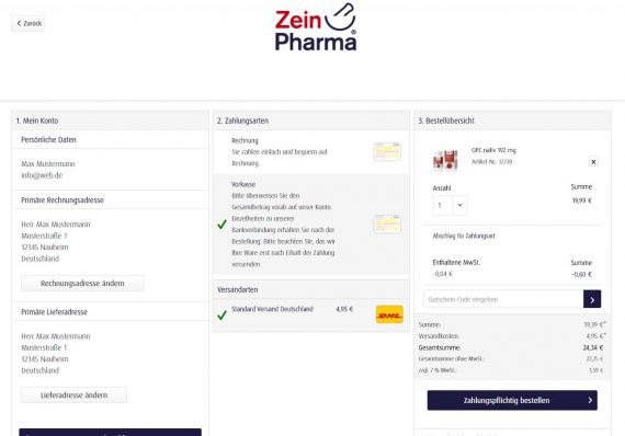 Shopware Referenz Zeinpharma Onepage Checkout