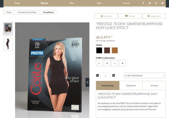 Referenz Nora Fashion Detailseite