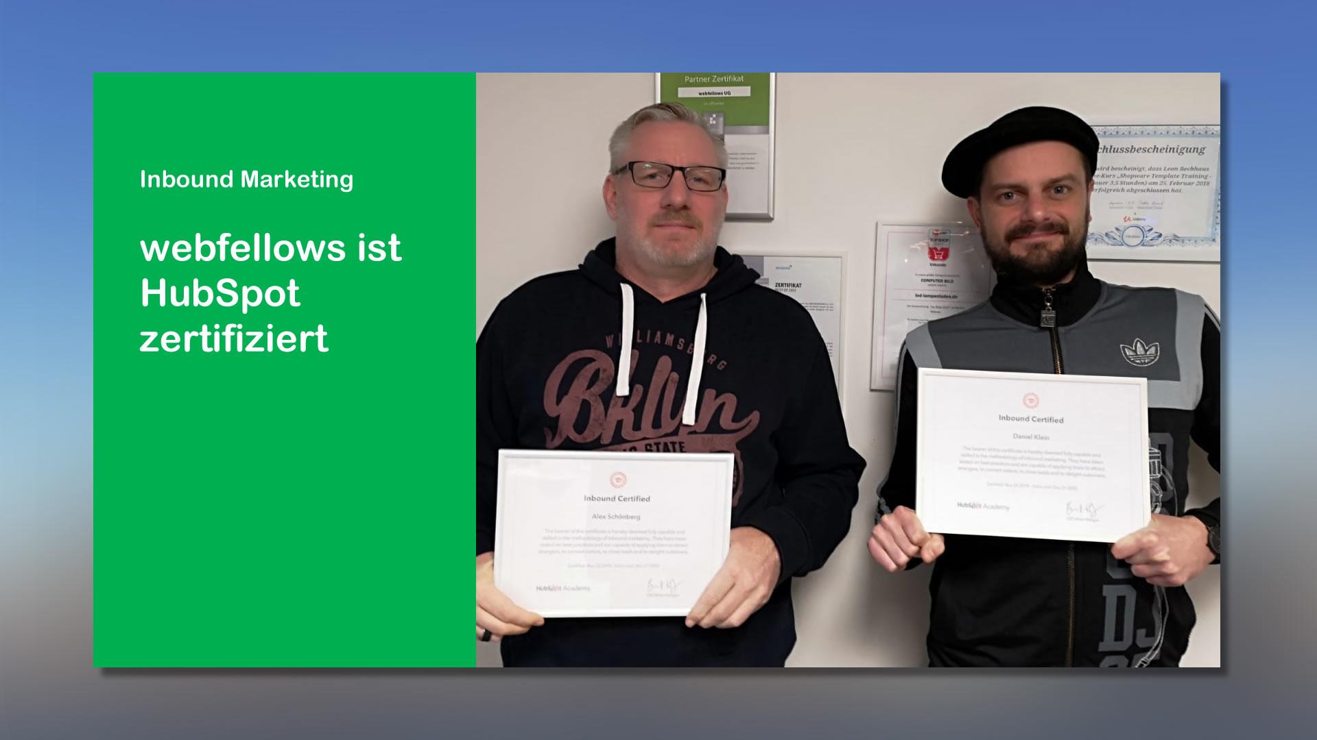 webfellows ist HubSpot Inbound Marketing zertifiziert