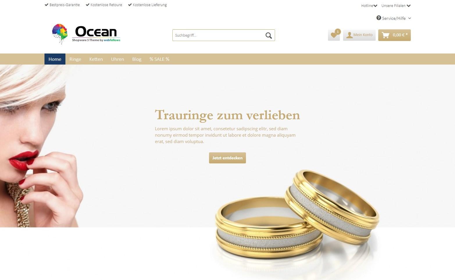 Ocean Theme für Shopware von webfellows